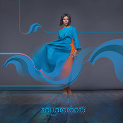 "Long sleeve Cyan dress ""Water"" with eccentric design by Squareroot5"